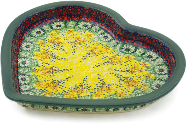 "Polish Pottery Heart Shaped Platter 9"" Sunshine Grotto Theme UNIKAT"