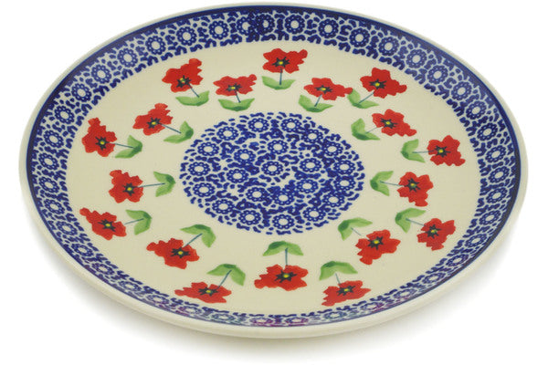 "Polish Pottery Plate 8"" Wind-blown Poppies Theme"