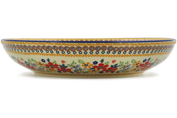 "Polish Pottery Bowl 12"" Summer Bouquet Theme UNIKAT"
