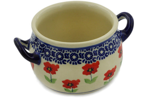 Polish Pottery Bouillon Cup 13 oz Wind-blown Poppies Theme