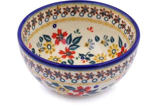 "Polish Pottery Bowl 5"" Red Anemone Meadow Theme"