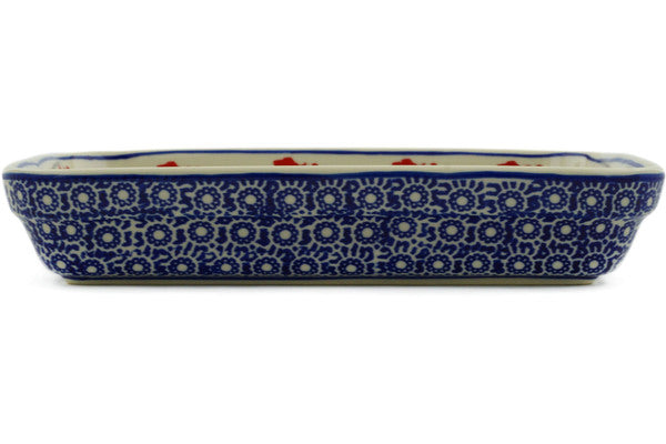 "Polish Pottery Rectangular Baker 10"" Wind-blown Poppies Theme"