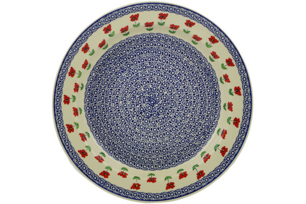 "Polish Pottery Deep Plate 1813"" Wind-blown Poppies Theme"