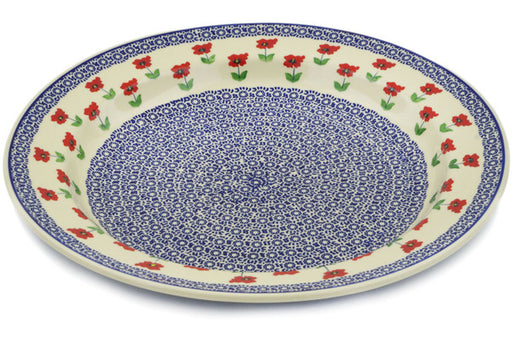 "Polish Pottery Deep Plate 18"" Wind-blown Poppies Theme"