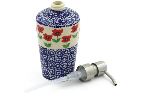 "Polish Pottery Soap Dispenser 8"" Wind-blown Poppies Theme"