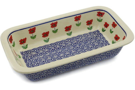 "Polish Pottery Rectangular Baker 12"" Wind-blown Poppies Theme"