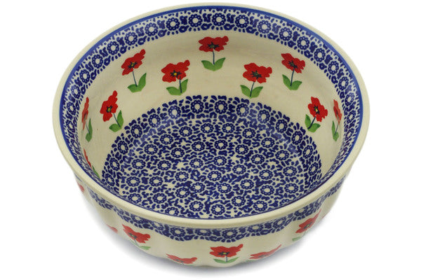 "Polish Pottery Fluted Bowl 8"" Wind-blown Poppies Theme"