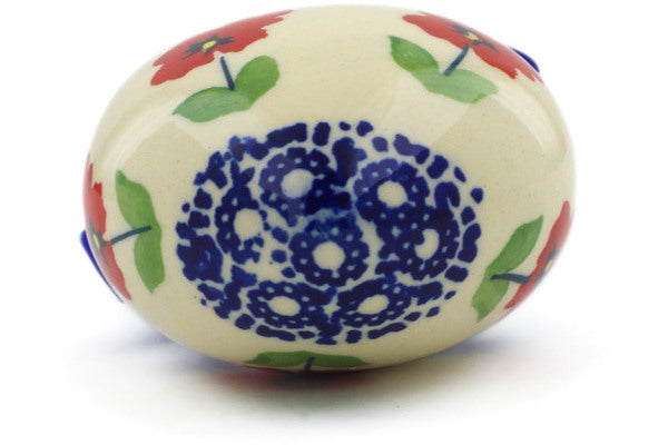 "Polish Pottery Ornament Heart 3"" Wind-blown Poppies Theme"