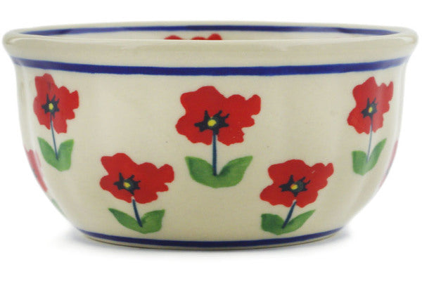"Polish Pottery Bowl 4"" Wind-blown Poppies Theme"