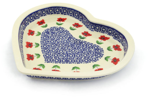 "Polish Pottery Heart Shaped Platter 9"" Wind-blown Poppies Theme"