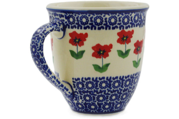 Polish Pottery Mug 17 oz Wind-blown Poppies Theme