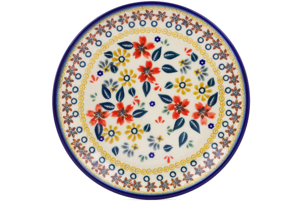 "Polish Pottery Plate 7"" Red Anemone Meadow Theme"