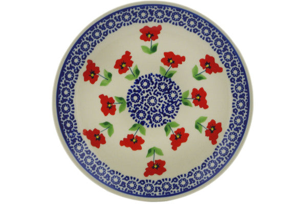 "Polish Pottery Plate 7"" Wind-blown Poppies Theme"
