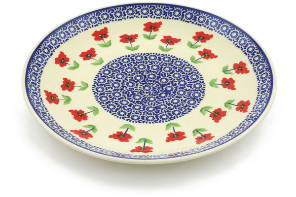"Polish Pottery Plate 10"" Wind-blown Poppies Theme"