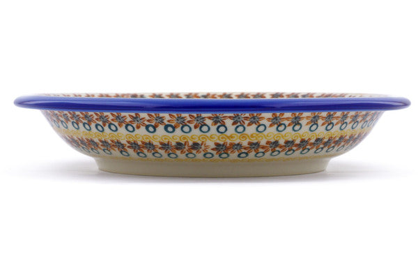 "Polish Pottery Pasta Bowl 9"" Red Anemone Meadow Theme"