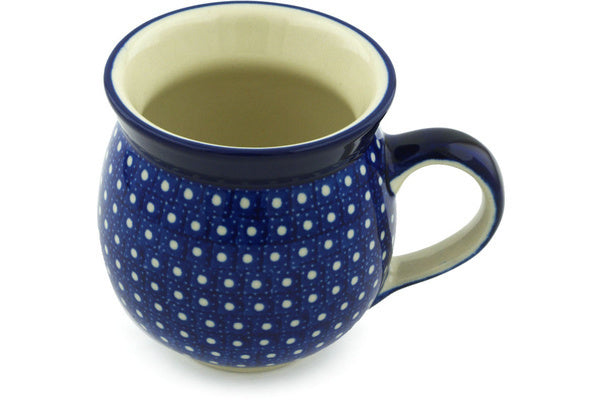Polish Pottery Bubble Mug 12 oz White Polka Dot Theme UNIKAT