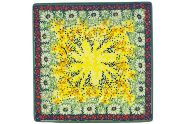 "Polish Pottery Square Plate 7"" Sunshine Grotto Theme UNIKAT"