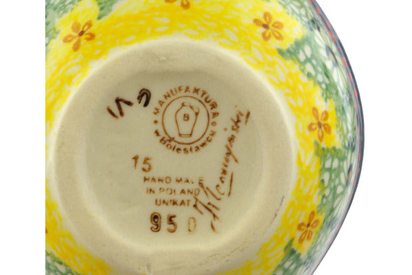 "Polish Pottery Condiment Server 8"" Sunshine Grotto Theme UNIKAT"