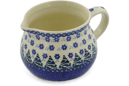 Polish Pottery Pitcher 36 oz Falling Snowflakes Theme
