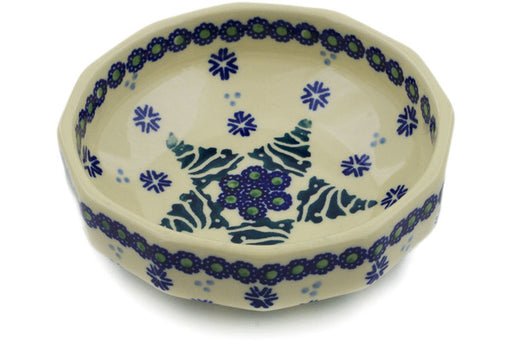 "Polish Pottery Bowl 5"" Falling Snowflakes Theme"
