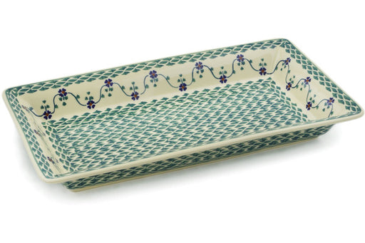 "Polish Pottery Rectangular Baker 15"" Lucky Blue Clover Theme"