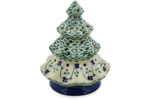 "Polish Pottery Christmas Tree Candle Holder 7"" Lucky Blue Clover Theme"