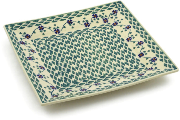 "Polish Pottery Square Plate 9"" Lucky Blue Clover Theme"