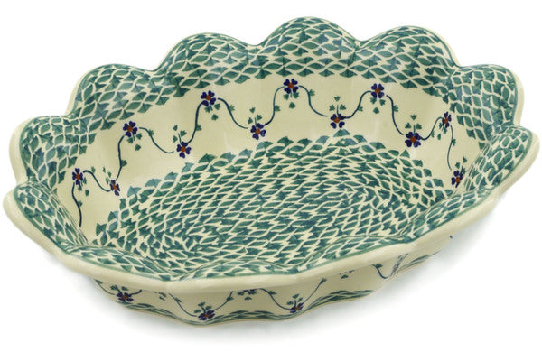 "Polish Pottery Oval Baker 13"" Lucky Blue Clover Theme"