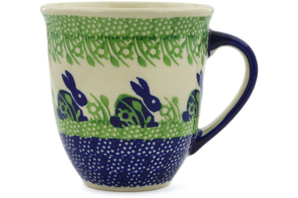 Polish Pottery Mug 17 oz Hare In Tall Grass Theme