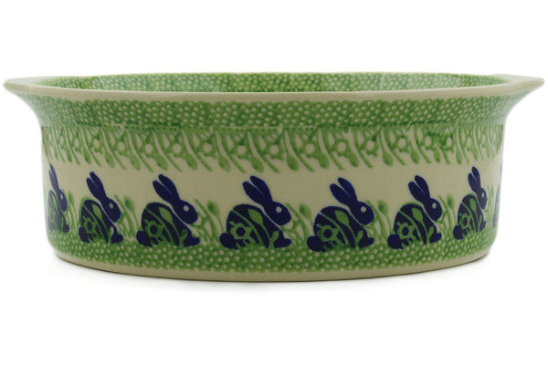 "Polish Pottery Round Baker with Handles 10"" Hare In Tall Grass Theme"