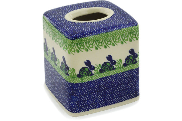 "Polish Pottery Tissue Box Cover 6"" Hare In Tall Grass Theme"