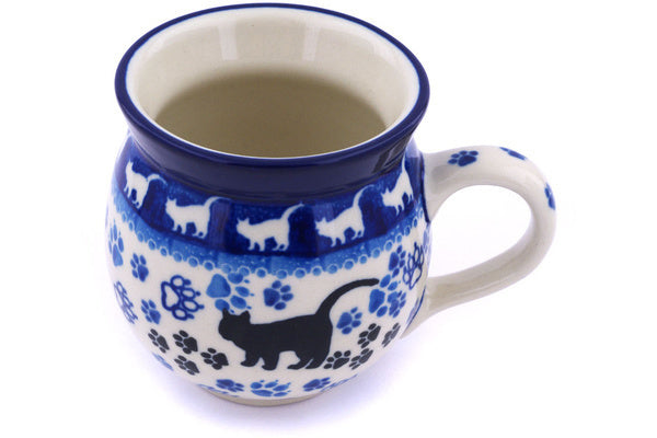 Polish Pottery Bubble Mug 12 oz Boo Boo Kitty Paws Theme