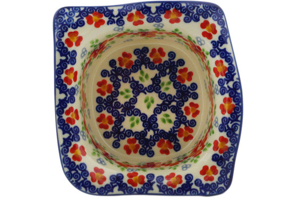 "Polish Pottery Square Bowl 6"" Red Chains Theme UNIKAT"