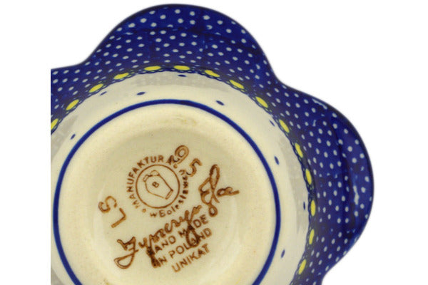 "Polish Pottery Bowl 4"" Flower In The Grass Theme UNIKAT"