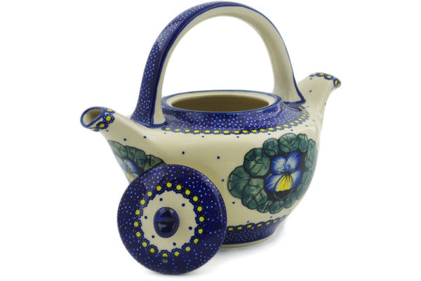 Polish Pottery Tea or Coffee Pot 46 oz Flower In The Grass Theme UNIKAT