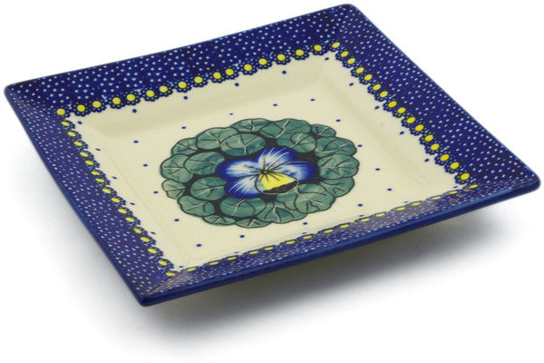 "Polish Pottery Square Plate 7"" Flower In The Grass Theme UNIKAT"