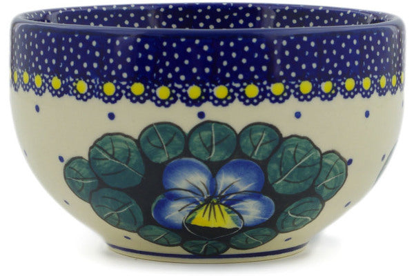 "Polish Pottery Bowl 5"" Flower In The Grass Theme UNIKAT"