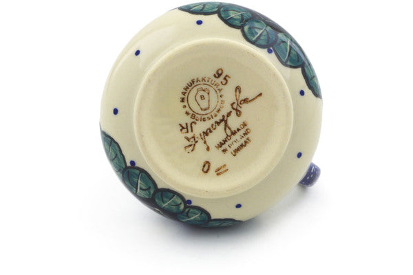 Polish Pottery Creamer 7 oz Flower In The Grass Theme UNIKAT