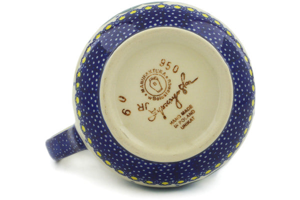 Polish Pottery Pitcher 19 oz Flower In The Grass Theme UNIKAT