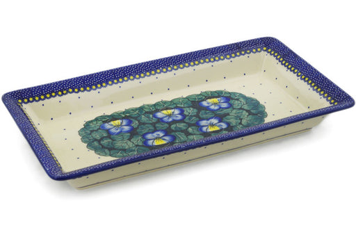 "Polish Pottery Rectangular Baker 15"" Flower In The Grass Theme UNIKAT"