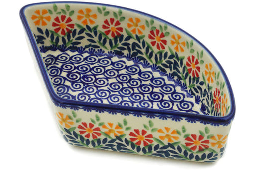"Polish Pottery Bowl 8"" Wave Of Flowers Theme"