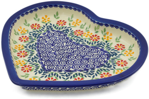 "Polish Pottery Heart Shaped Platter 9"" Wave Of Flowers Theme"