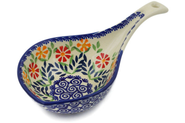 "Polish Pottery Condiment Server 8"" Wave Of Flowers Theme"