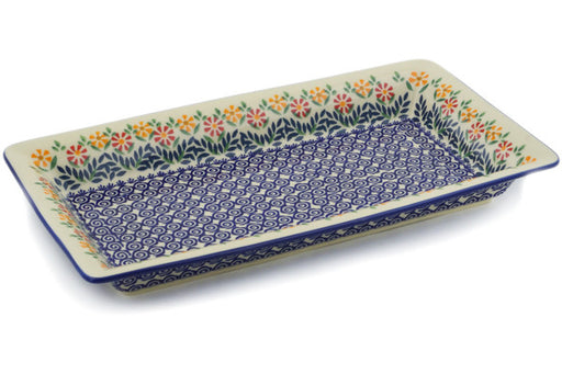 "Polish Pottery Rectangular Baker 15"" Wave Of Flowers Theme"