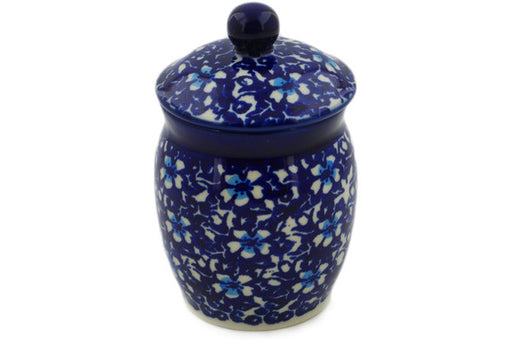 "Polish Pottery Jar with Lid 4"" Flowers On The Lake Theme"