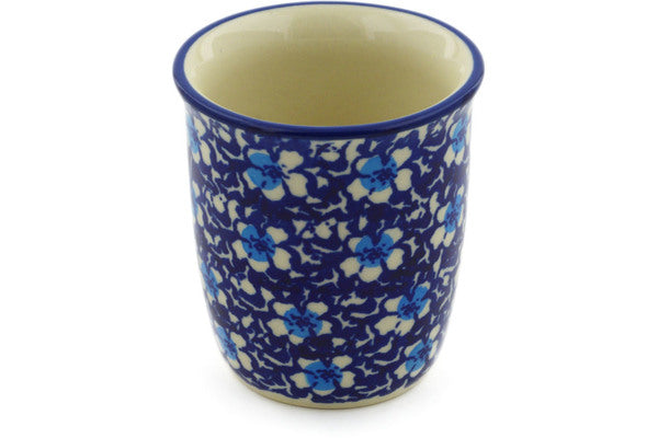 Polish Pottery Tumbler 3 oz Flowers On The Lake Theme