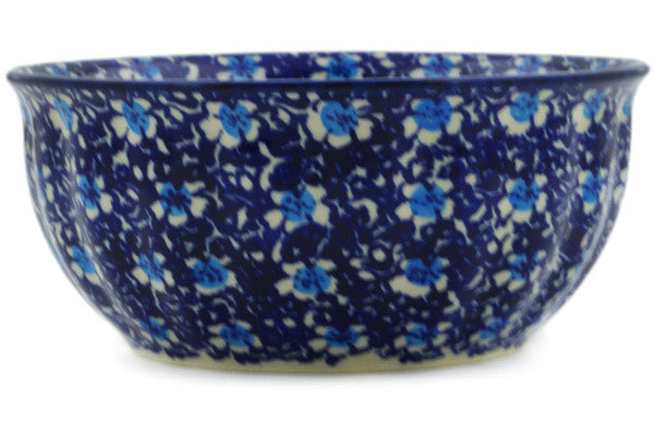 "Polish Pottery Bowl 7"" Flowers On The Lake Theme"