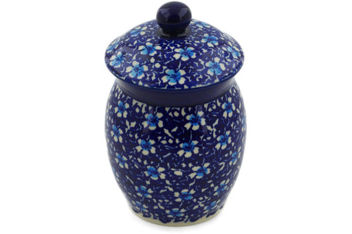 "Polish Pottery Jar with Lid 6"" Flowers On The Lake Theme"