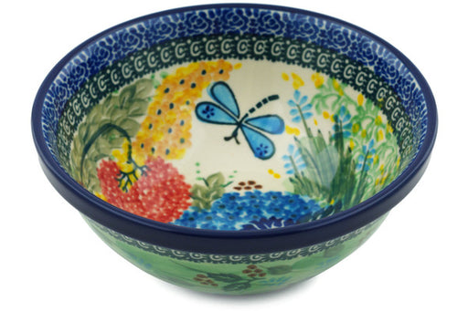 "Polish Pottery Bowl 6"" Garden Delight Theme UNIKAT"