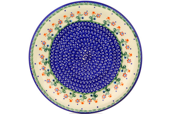 "Polish Pottery Plate 11"" Spring Flowers Theme"
